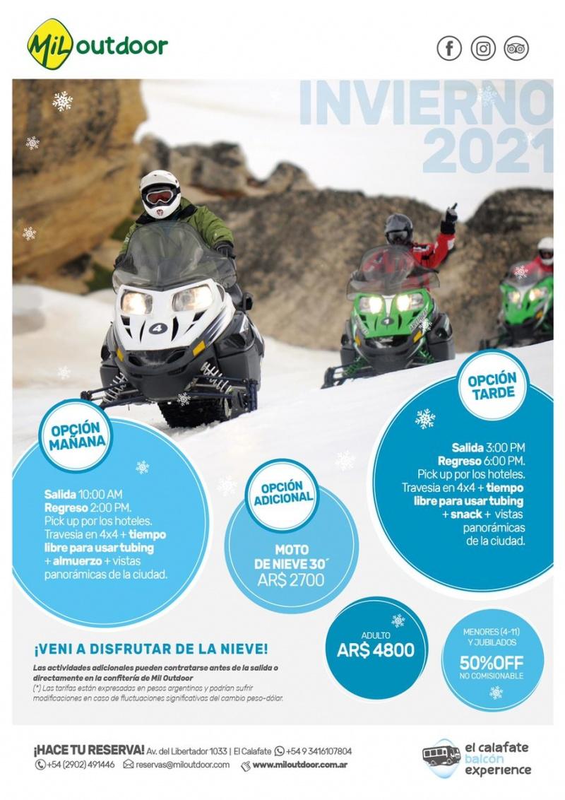 Mil outdoor Adventure Calafate Balcón + moto de nieve  +tubbing